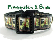 "Frankenstein dog collar, handmade, adjustable, buckle collar, 1"" wide, or leash - Furrypetbeds"
