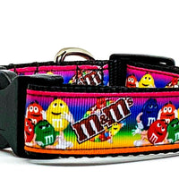 "M & M's candy dog collar handmade adjustable buckle  1"" or 5/8"" wide or leash - Furrypetbeds"