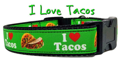 I Love Tacos dog collar handmade adjustable buckle 1