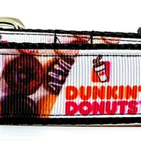 "Dunkin Donuts dog collar handmade adjustable buckle 1"" or 5/8"" wide or leash"