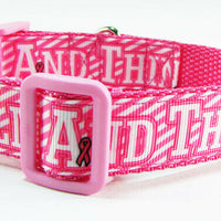 "Think Pink dog collar Handmade adjustable buckle collar 1"" wide or leash $12 - Furrypetbeds"