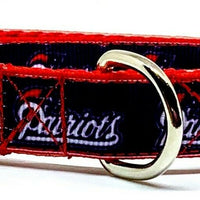 "New England Patriots dog collar handmade adjustable buckle collar 5/8""wide - Furrypetbeds"