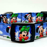 "Mickey Christmas dog collar handmade adjustable buckle collar 5/8""wide or leash - Furrypetbeds"