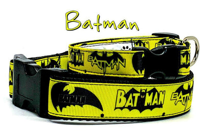 Batman dog collar handmade adjustable buckle collar 5/8