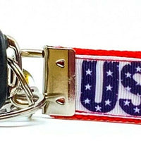 "USA Key Fob Wristlet Keychain 1""wide Zipper pull Camera strap handmade"