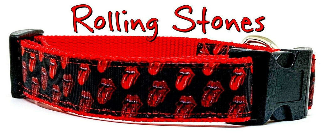 "Rolling Stones dog collar Handmade adjustable buckle 1"" or 5/8"" wide or leash"