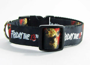 "Friday the 13th dog collar handmade adjustable buckle collar 1"" wide or leash - Furrypetbeds"