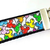 "Mickey Balloons Key Fob Wristlet Keychain 1 1/4""wide Zipper pull Camera strap - Furrypetbeds"