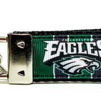 "Eagles Key Fob Wristlet Keychain 1""wide Zipper pull Camera strap handmade - Furrypetbeds"