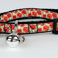"Poppies cat & small dog collar 1/2"" wide adjustable handmade bell leash - Furrypetbeds"