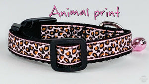 "Animal Print cat or small dog collar 1/2"" wide adjustable handmade bell leash - Furrypetbeds"