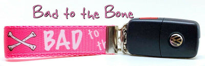 Bad To The Bone pink Key Fob Wristlet Keychain 1
