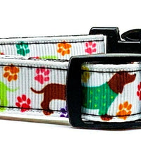 "Dachshund dog collar handmade adjustable buckle collar 5/8"" wide or leash - Furrypetbeds"