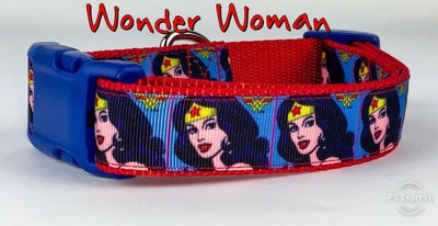 Wonder Woman dog collar handmade adjustable buckle 1