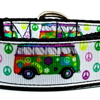 "VW Bus dog collar handmade 12.00 all sizes adjustable buckle collar 1""wide leash - Furrypetbeds"