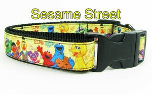 "Sesame Street dog collar handmade adjustable buckle collar 1"" wide leash fabric - Furrypetbeds"