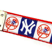 "NY Yankees Key Fob Wristlet Keychain 1""wide Zipper pull Camera strap handmade - Furrypetbeds"