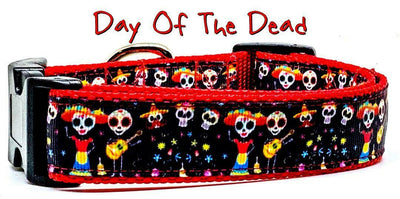Day Of The Dead dog collar handmade adjustable buckle collar 1