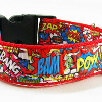 "Super Hero dog collar handmade adjustable buckle collar 1"" wide or leash $12 - Furrypetbeds"