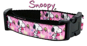 "Snoopy dog collar handmade 12.00 all sizes adjustable buckle collar 1""wide leash - Furrypetbeds"
