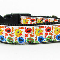 "Sesame Street dog collar handmade adjustable buckle collar 1"" wide or leash Elmo - Furrypetbeds"