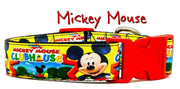 "Mickey Clubhouse dog collar handmade adjustable buckle 1"" or 5/8"" wide or leash"
