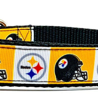 "Steelers dog collar handmade adjustable buckle collar football 1"" wide or leash - Furrypetbeds"