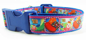 "Candy Crush dog collar handmade adjustable buckle collar 1"" wide or leash $12 - Furrypetbeds"