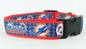 "Dolphins dog collar handmade adjustable buckle collar football 1"" wide or leash - Furrypetbeds"
