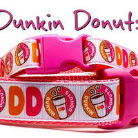 "Dunkin Donuts Dog collar handmade adjustable buckle 5/8""wide or leash small dog"