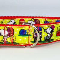 "Easter Snoopy collar handmade adjustable buckle collar 1""wide or leash - Furrypetbeds"