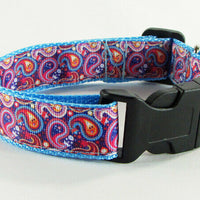 "Paisley dog collar handmade adjustable buckle collar 1"" wide or leash $12 collar - Furrypetbeds"