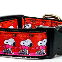"Snoopy Valentine dog collar handmade adjustable buckle 1""or 5/8"" wide or leash - Furrypetbeds"