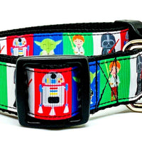 "Star Wars dog collar, handmade, adjustable, buckle collar, 1"" wide, leash - Furrypetbeds"