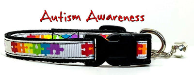 Autism Awareness cat or small dog collar 1/2