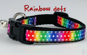"Rainbow dots cat & small dog collar 1/2"" wide adjustable handmade bell leash - Furrypetbeds"