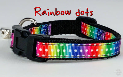 Rainbow dots cat & small dog collar 1/2