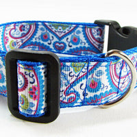 "Paisley dog collar handmade $12.00  adjustable buckle collar 1""wide or leash - Furrypetbeds"