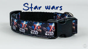 "Star Wars dog collar handmade adjustable buckle collar 5/8""wide or leash fabric - Furrypetbeds"