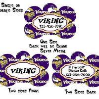 Pet ID Tag Vikings NFL Personalized Custom Double Sided Pet Tag w/name & number - Furrypetbeds