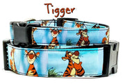 "Tigger Winnie the Poo dog collar Handmade adjustable buckle 1""or 5/8"" wide leash - Furrypetbeds"