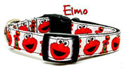 "Elmo Sesame Street Dog collar handmade adjustable buckle collar 5/8""wide - Furrypetbeds"