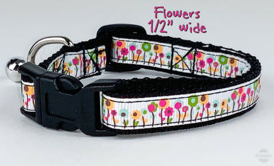 Flowers cat or small dog collar 1/2