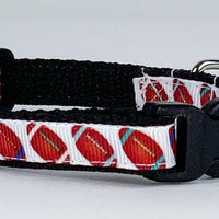 "Football cat or small dog collar 1/2"" wide adjustable handmade bell leash - Furrypetbeds"
