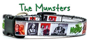 "The Munsters dog collar handmade adjustable buckle 5/8"" wide or leash TV show - Furrypetbeds"