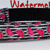 "Watermelon dog collar handmade adjustable buckle collar 5/8"" wide or leash - Furrypetbeds"