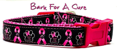 Bark For A Cure dog collar handmade adjustable buckle collar 5/8