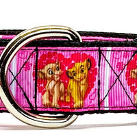 "Nala & Simba dog collar handmade adjustable buckle 1"" or 5/8"" wide or leash - Furrypetbeds"