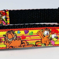 "Garfield dog collar handmade adjustable buckle collar 5/8"" wide or leash fabric - Furrypetbeds"