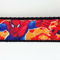"Spider-Man dog collar handmade adjustable buckle collar 1"" wide or leash fabric - Furrypetbeds"